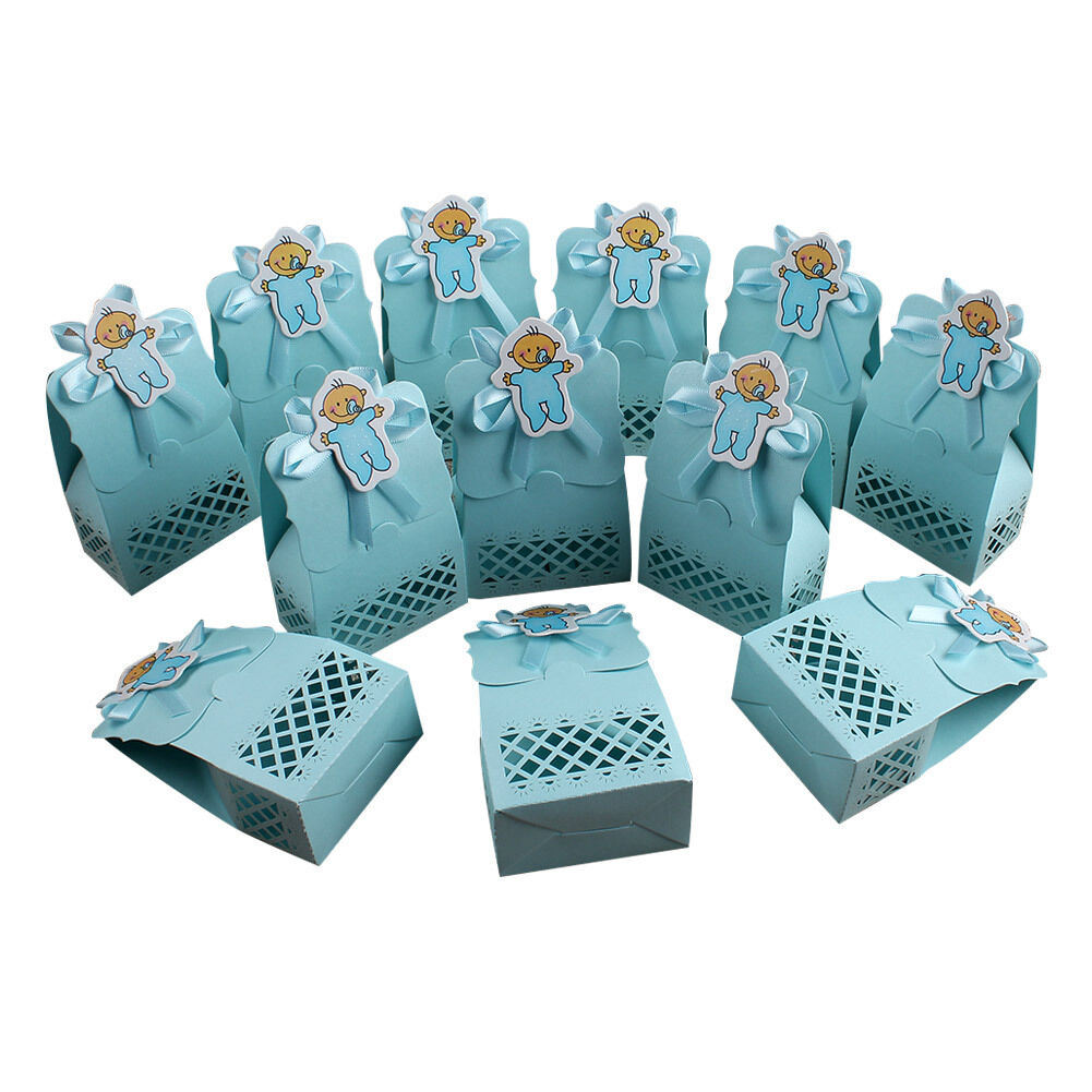 36pcs Blue Baby Shower Favors Boy Candy Box Baptism 1st Birthday