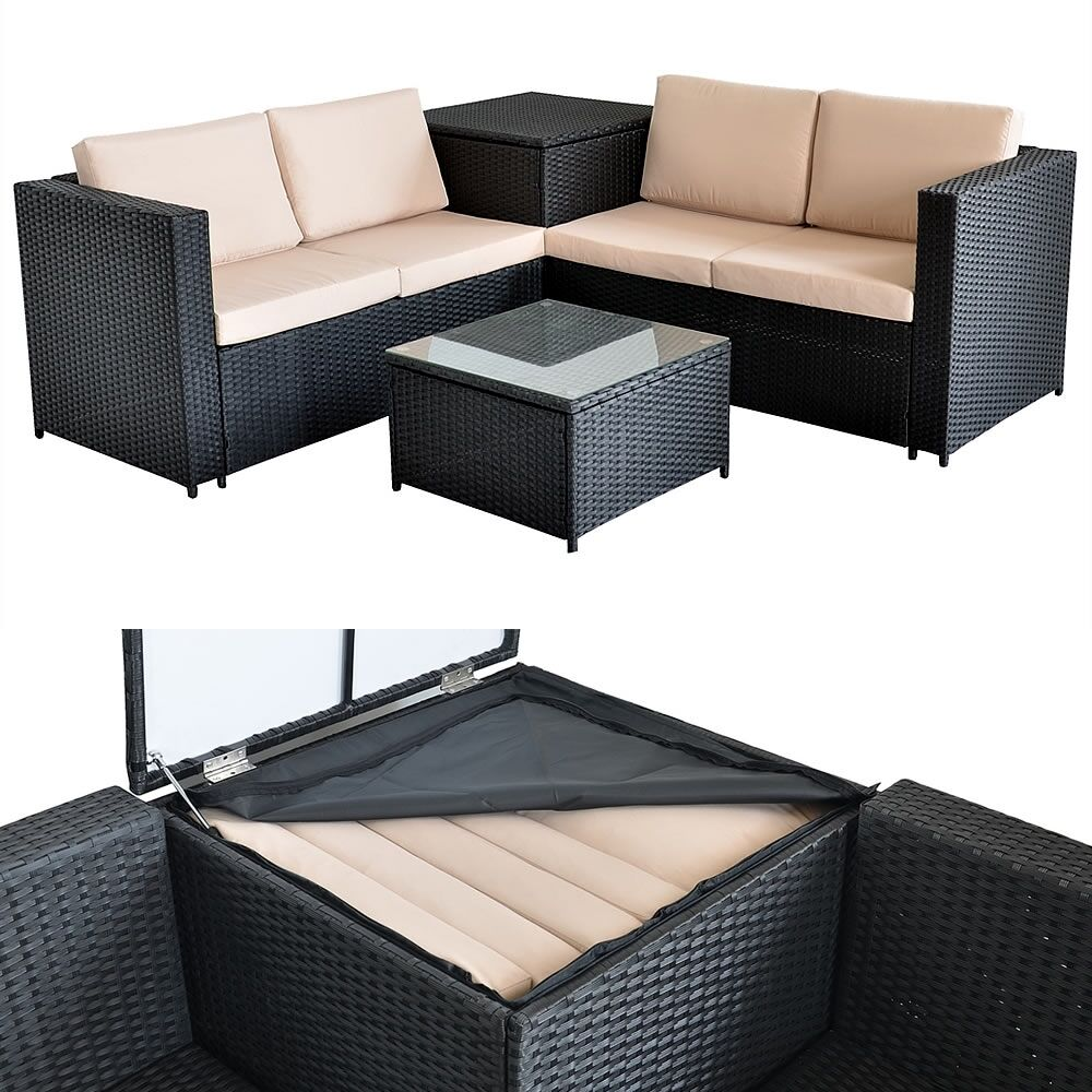 rattan lounge tisch und kissenbox in schwarz garten sofa lounge gartenm bel eur 349 85. Black Bedroom Furniture Sets. Home Design Ideas