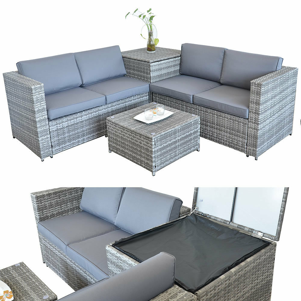 rattan lounge tisch und kissenbox in grau garten sofa. Black Bedroom Furniture Sets. Home Design Ideas