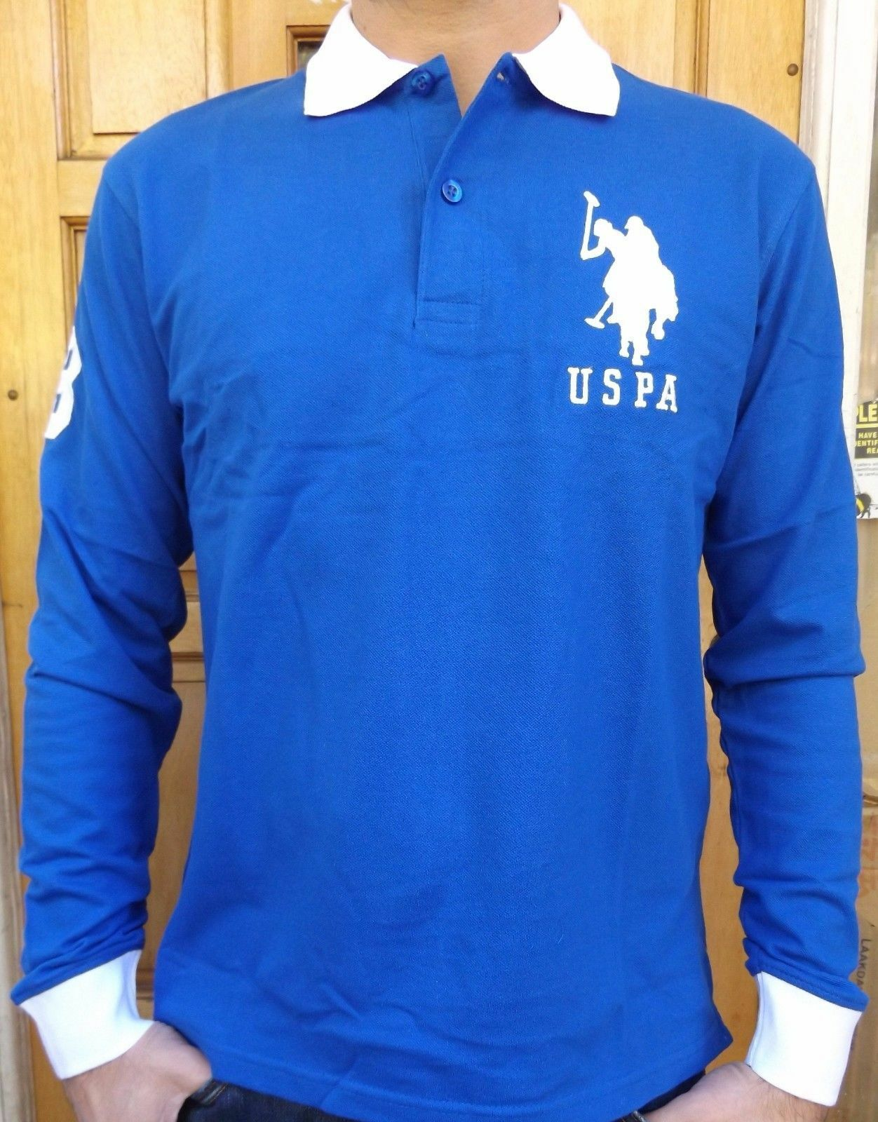 Men s new us polo assn long sleeve polo shirt size xl blue for Longer length mens polo shirts
