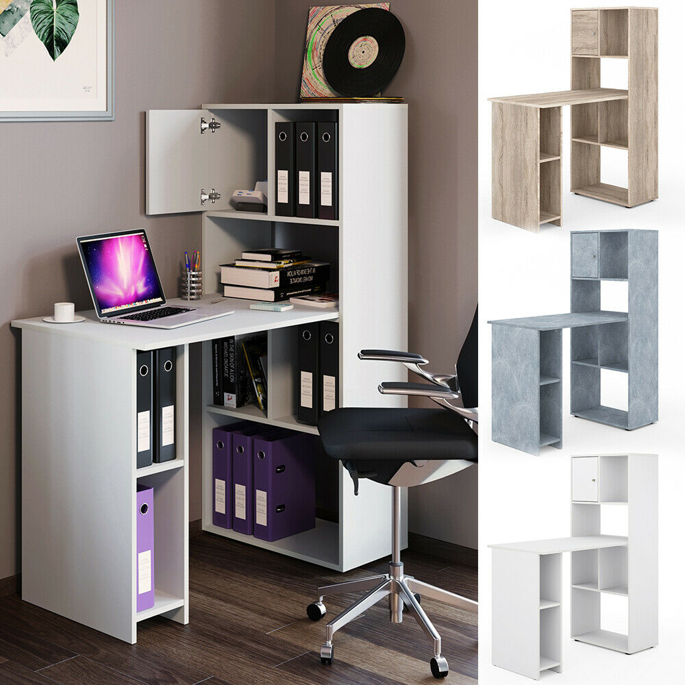 vicco schreibtisch regalkombination 8 f cher b rotisch computertisch pc tisch eur 69 90. Black Bedroom Furniture Sets. Home Design Ideas