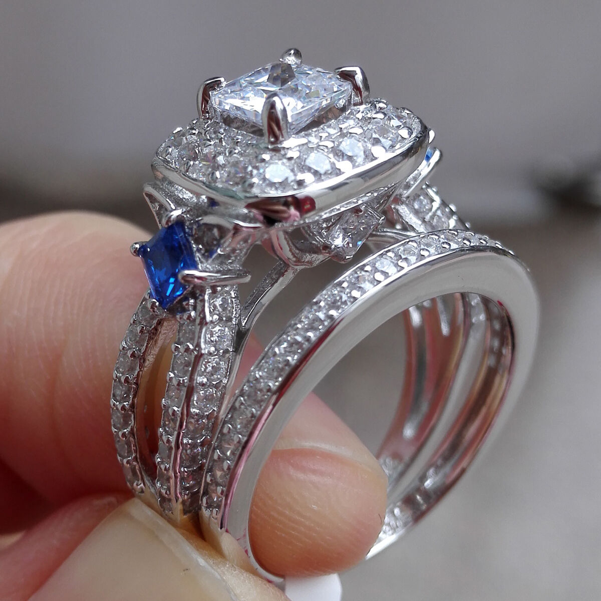 2ct Princess Blue Sapphire 925 Sterling Silver Engagement Wedding Ring Set Sz 7 O CAD 2909