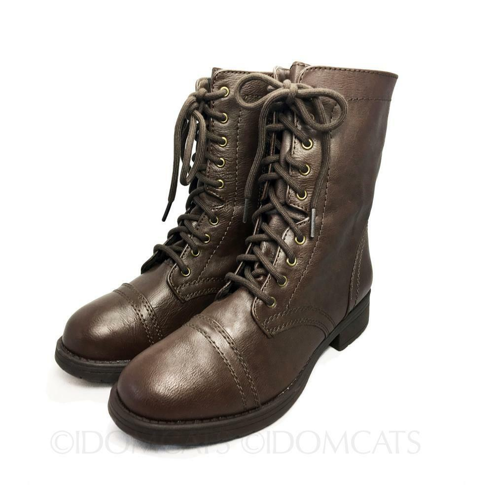 womens brown summer faux leather shoes lace up