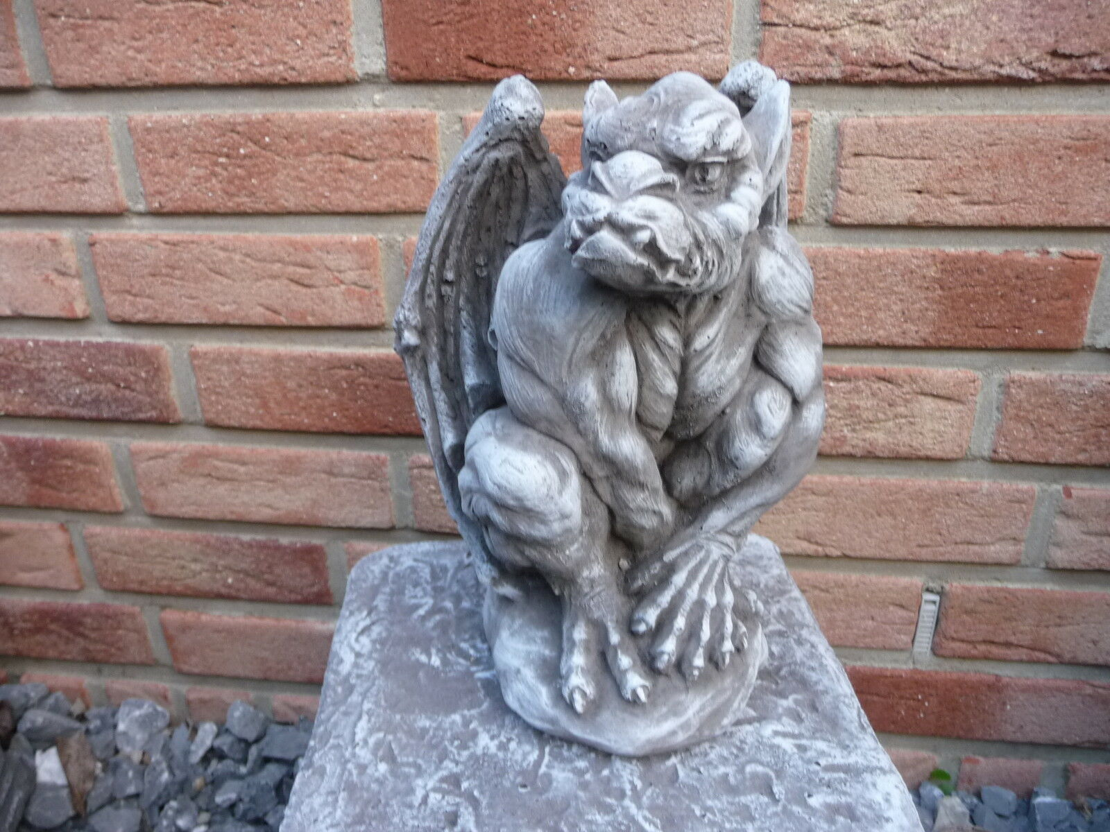 gartenfigur gargoyle figur steinfigur f r garten deko teich fantasiefigur eur 44 00 picclick de. Black Bedroom Furniture Sets. Home Design Ideas