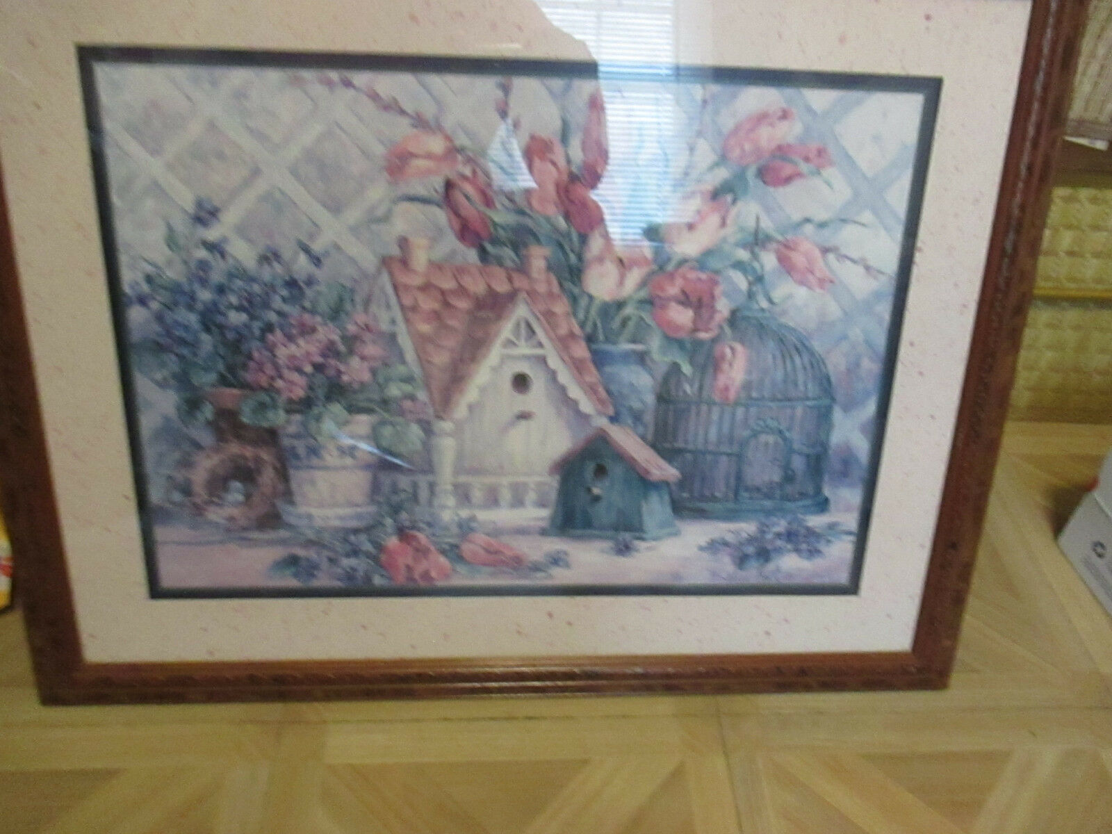 Vintage Home Interior Barbara Mock Bird Cage/ Birdhouse/Tulip Arrangement  25x20 1 Of 10Only 1 Available ...