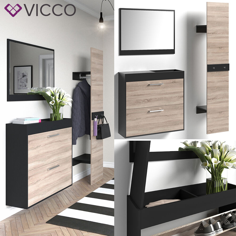 vicco flurgarderobe schwarz san remo set spiegel schuhschrank paneel eur 159 90. Black Bedroom Furniture Sets. Home Design Ideas