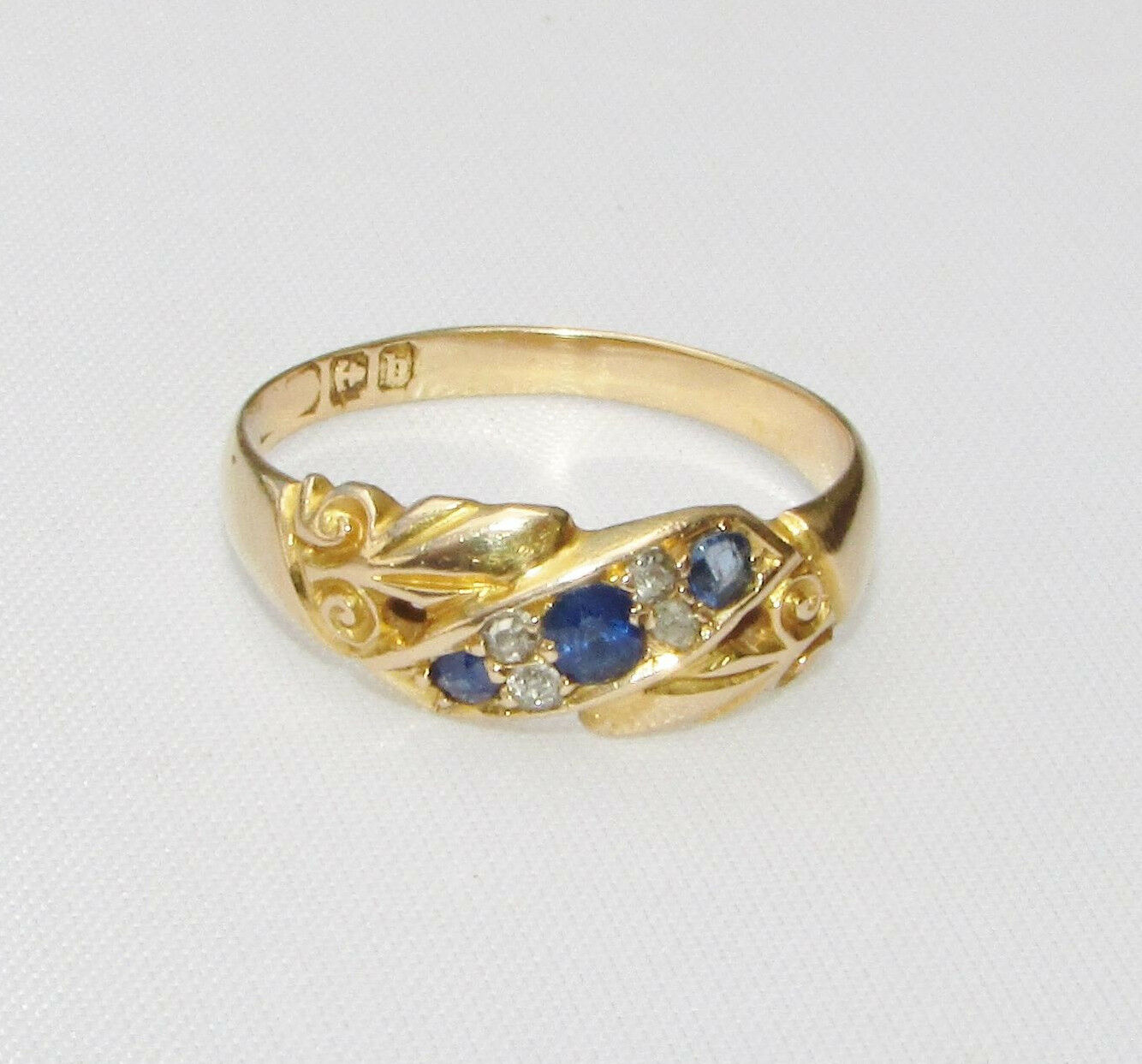 antique edwardian 18ct gold sapphire ring size