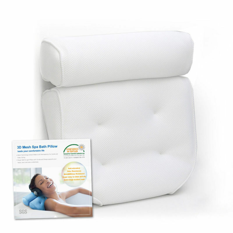 BATH SPA PILLOW Relaxing Massage with 4 Big suction Cups for Bathtub ...