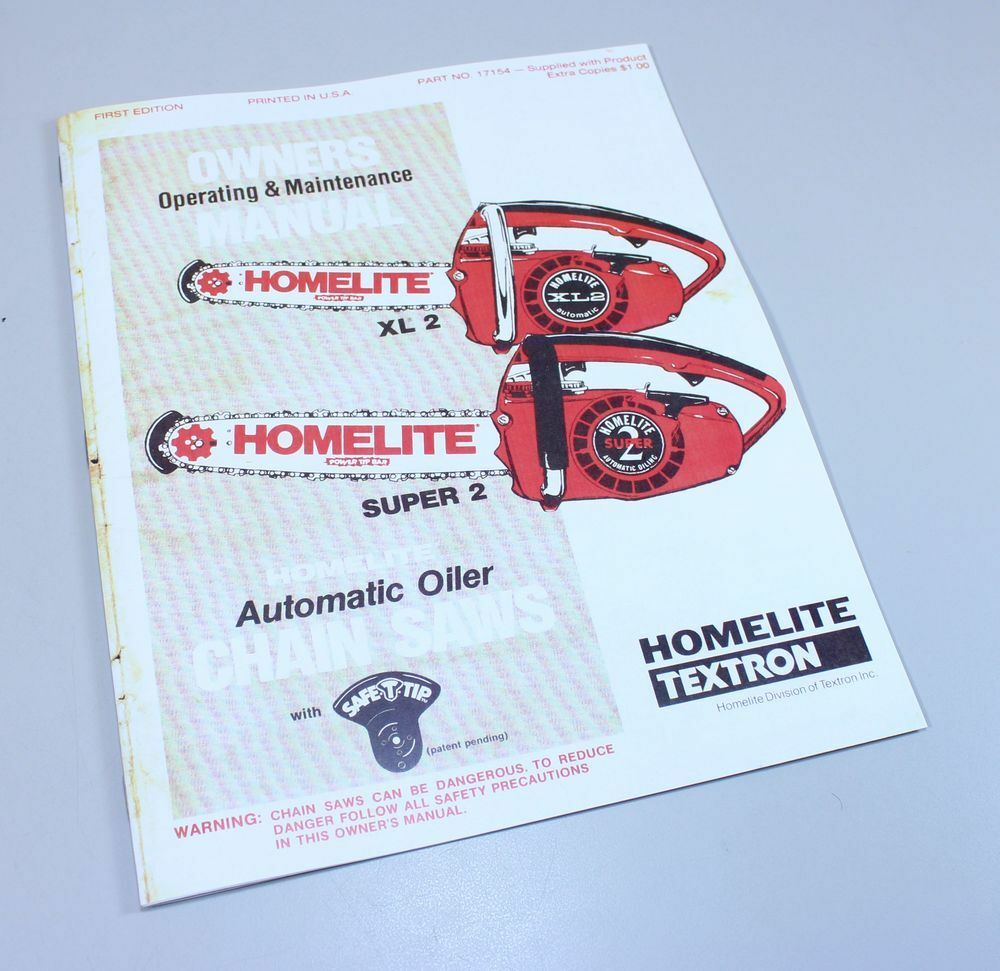 homelite xl2 super 2 automatic oiler chainsaw owners operators rh picclick com homelite xl2 automatic chainsaw manual homelite xl2 automatic manual