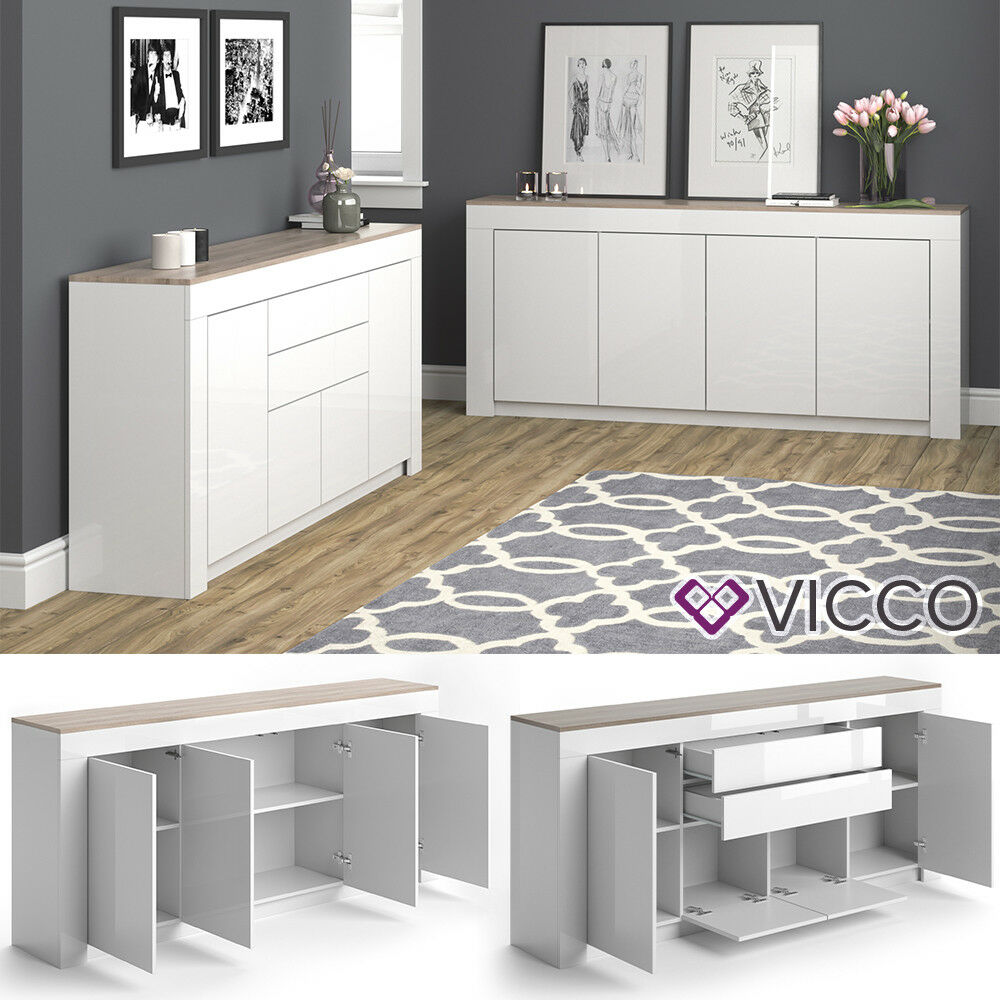 vicco sideboard 190cm wei hochglanz kommode anrichte wohnzimmerschrank eiche eur 174 90. Black Bedroom Furniture Sets. Home Design Ideas