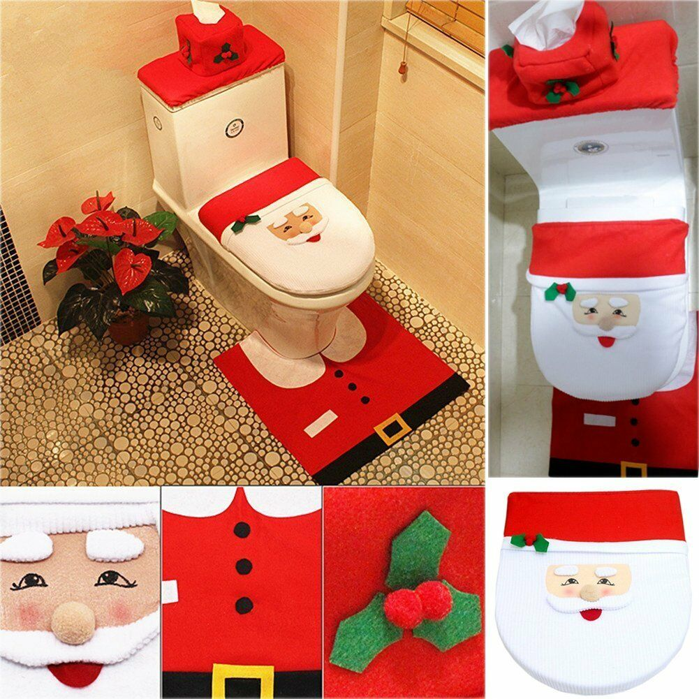 Christmas Xmas Decoration Elf Toilet Seat Cover Rug Tissue Box Set 1 Of 12 See More