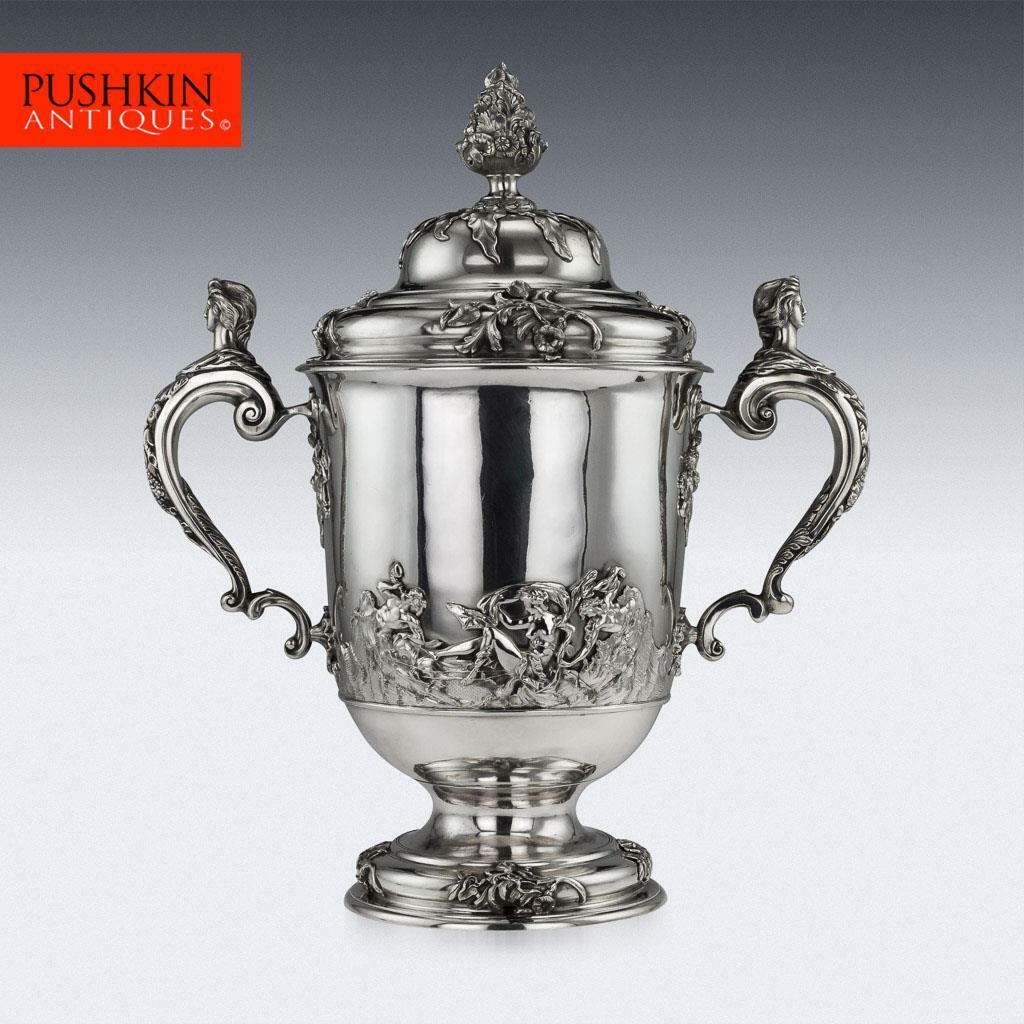 ANTIQUE 20thC EDWARDIAN MONUMENTAL SOLID SILVER CUP ...