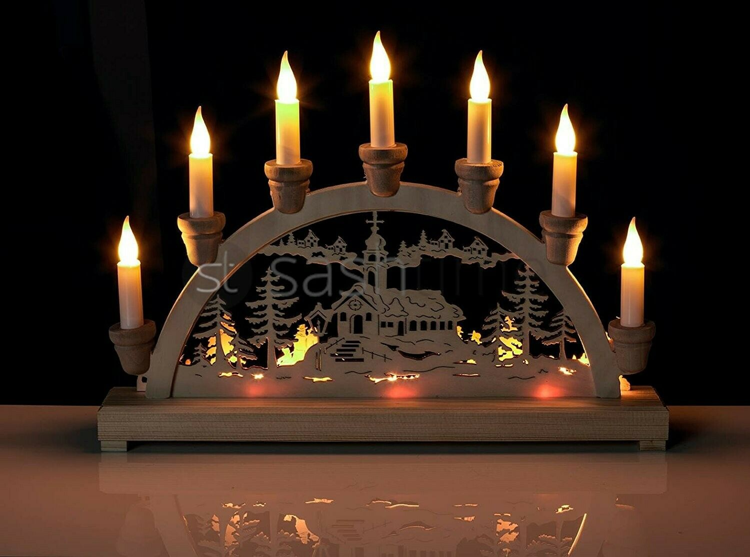 Christmas 10 led wooden candle bridge light window for Christmas window decorations clearance