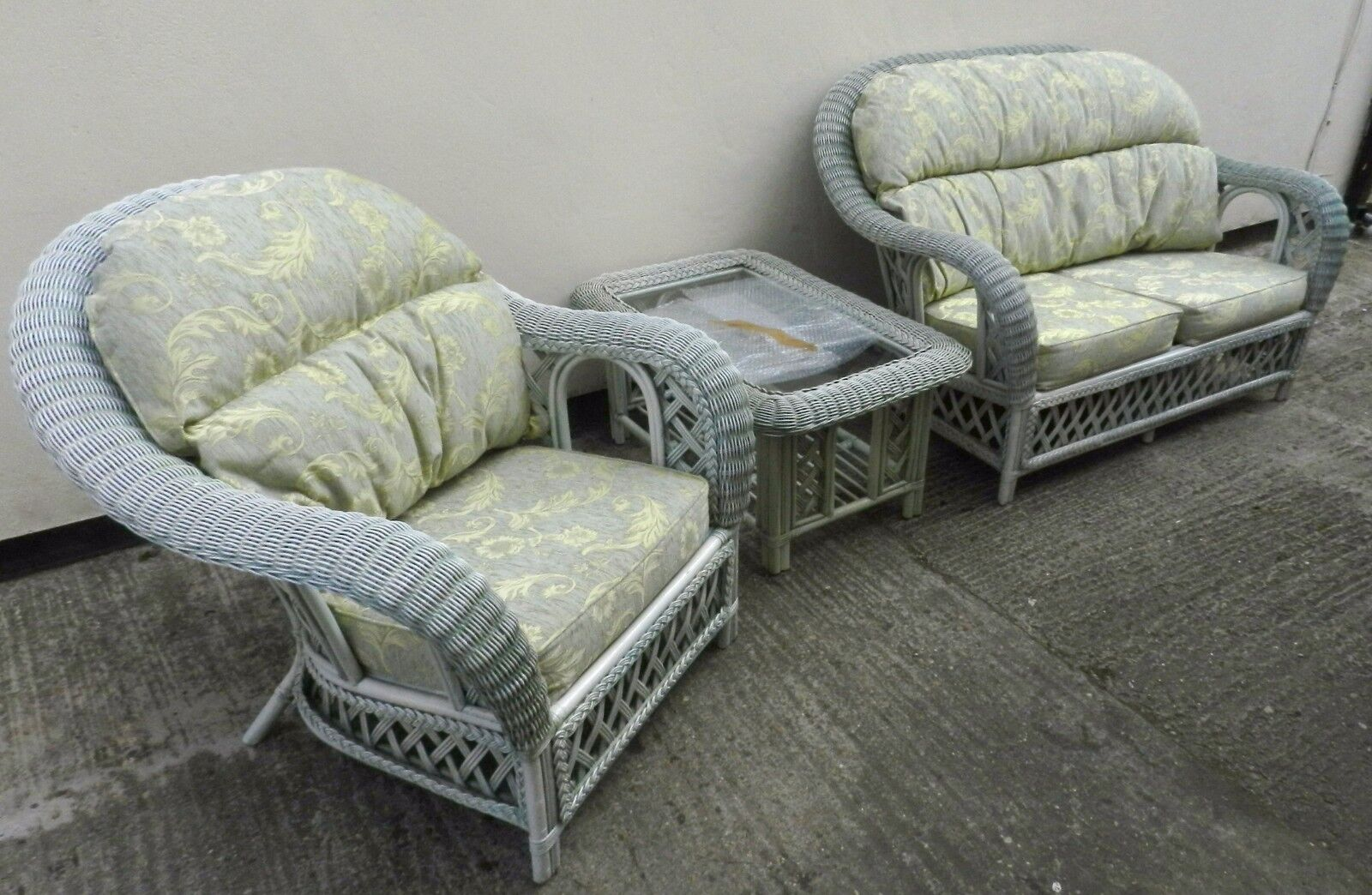 Conservatory wicker 3 piece furniture suite sofa chair for Furniture 3 piece suites