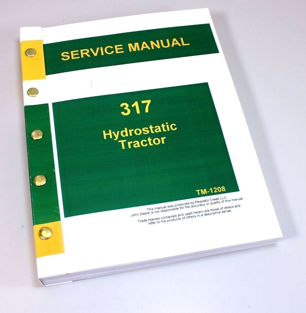 1 of 10FREE Shipping Service Manual For John Deere 317 Hydrostatic Lawn  Tractor Technical Repair