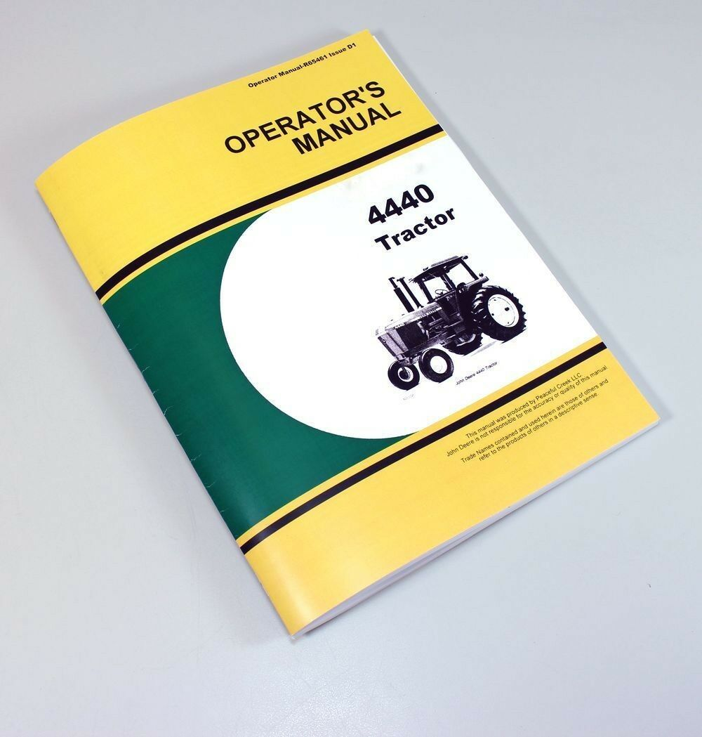Operators Manual For John Deere 4440 Tractors Owners Lubrication Maintenance  1 of 8FREE Shipping ...