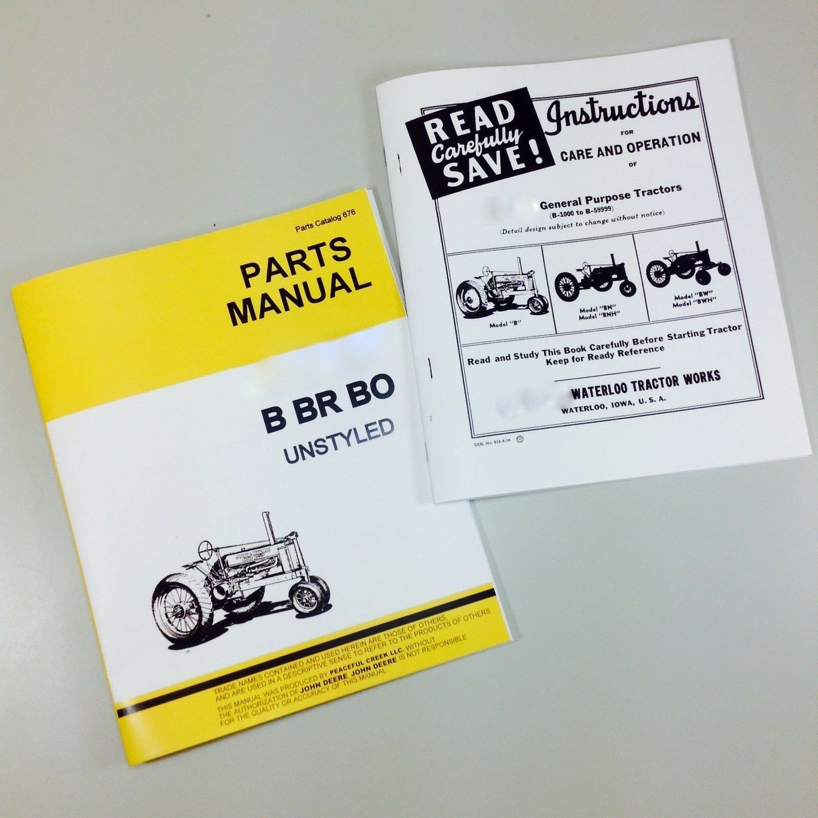 Service Manual For John Deere Model B Bn Bw Bnh Bwh Unstyled Tractor Owner  Parts 1 of 8FREE Shipping ...