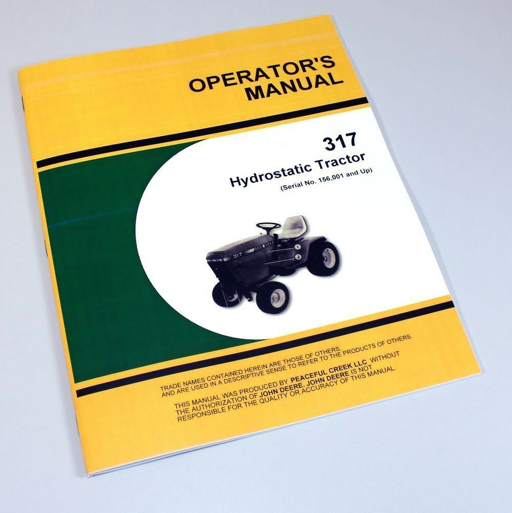Operators Manual For John Deere 317 Hydrostatic Lawn Garden Tractor Mower  Owners 1 of 7FREE Shipping ...