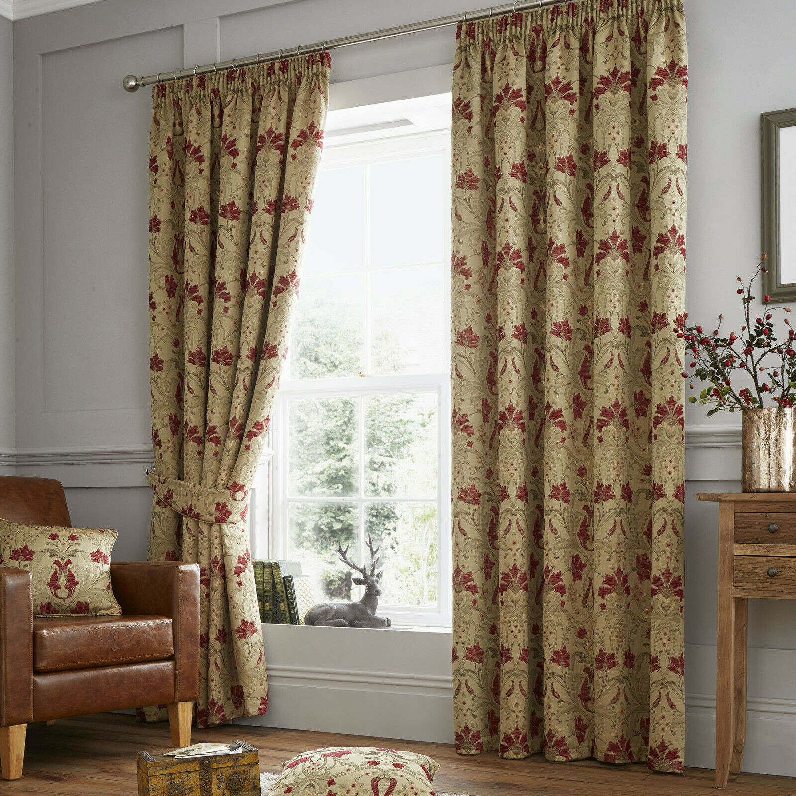 Luxury Ready Made Pencil Pleat Curtains Burford Red Gold 1 Of 3free Shipping