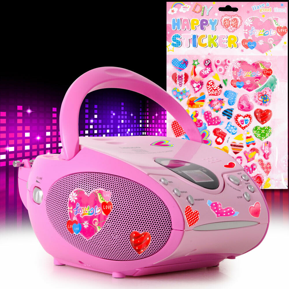 kinder cd player m dchen musik anlage pink herz sticker fm. Black Bedroom Furniture Sets. Home Design Ideas