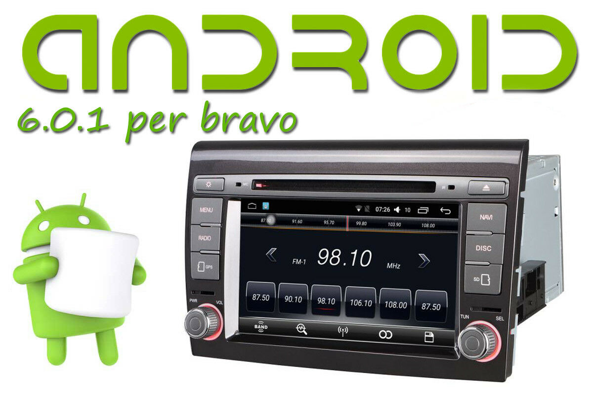 autoradio 2 din android 6 0 1 fiat bravo 2007 2016 wifi. Black Bedroom Furniture Sets. Home Design Ideas