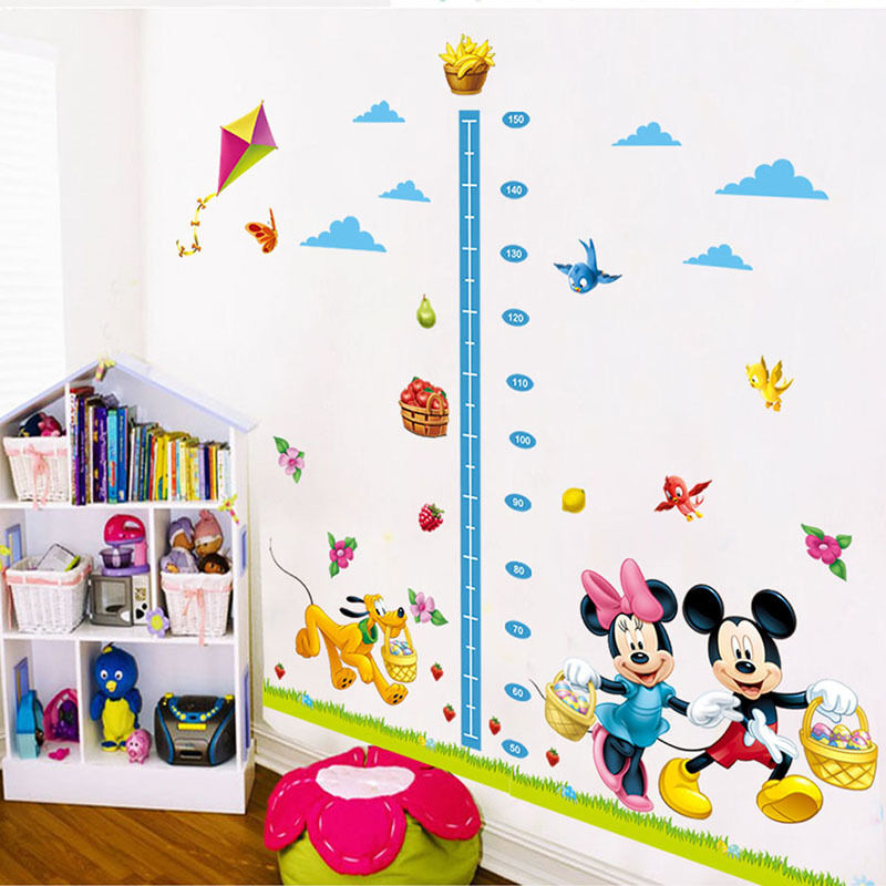 Children Height Growth Chart Measure Mickey Mouse Wall Sticker Decor