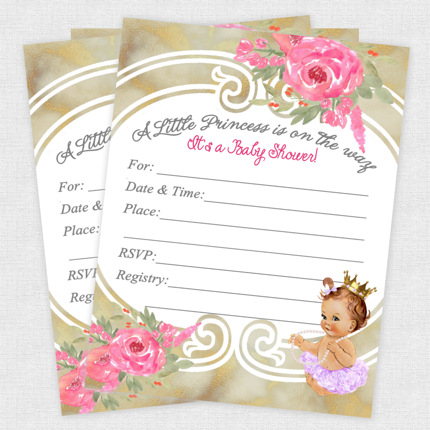 BABY SHOWER INVITATIONS Tutu Princess Ballerina Invite Girl Gold ...