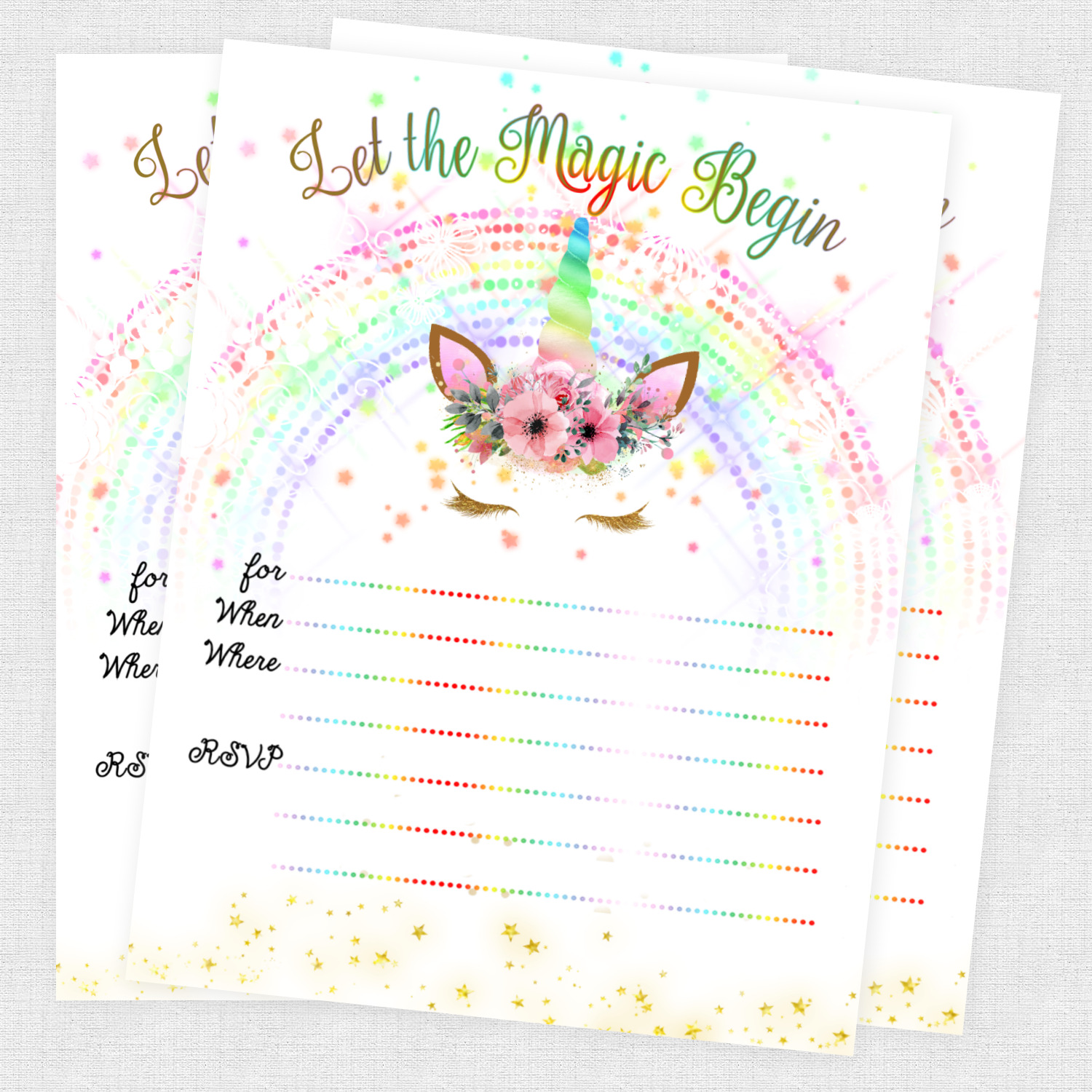 UNICORN INVITATIONS SLUMBER Party Invites Birthday Invitation Cards ...
