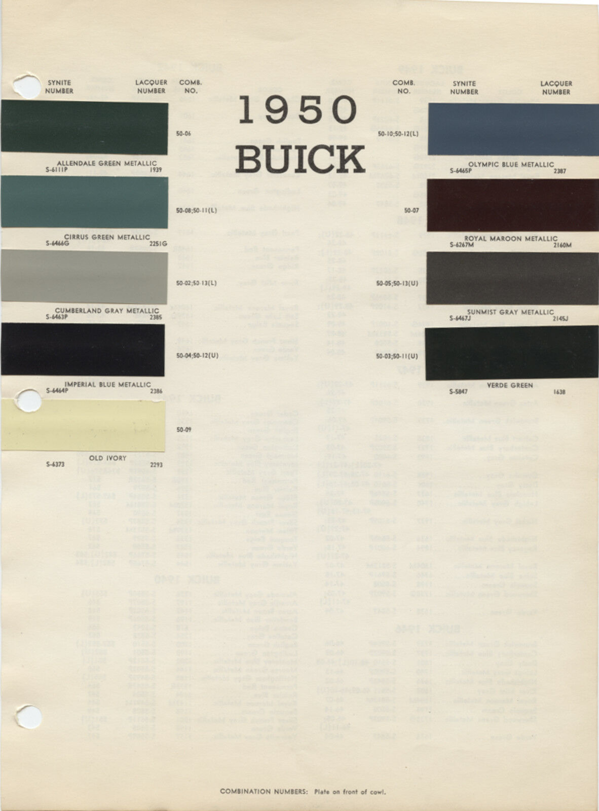 1950 50 Buick Color Paint Chips Chart 539 Picclick Uk 1968 Dodge 1 Of 2only Available