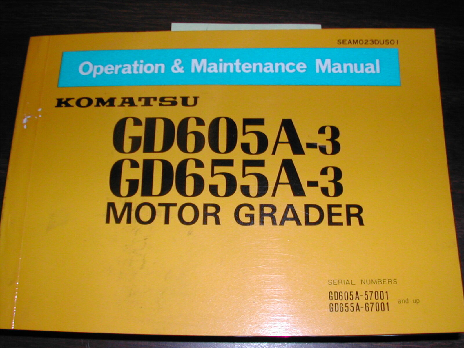Komatsu GD605A-3 655A-3 OPERATION MAINTENANCE MANUAL MOTOR GRADER OPERATOR  GUIDE 1 of 1Only 2 available ...
