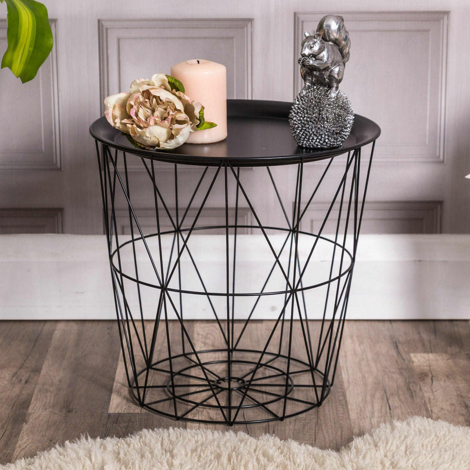 Black geometric wire side table basket tray storage occasional lamp black geometric wire side table basket tray storage occasional lamp contemporary 1 of 2only 1 available keyboard keysfo