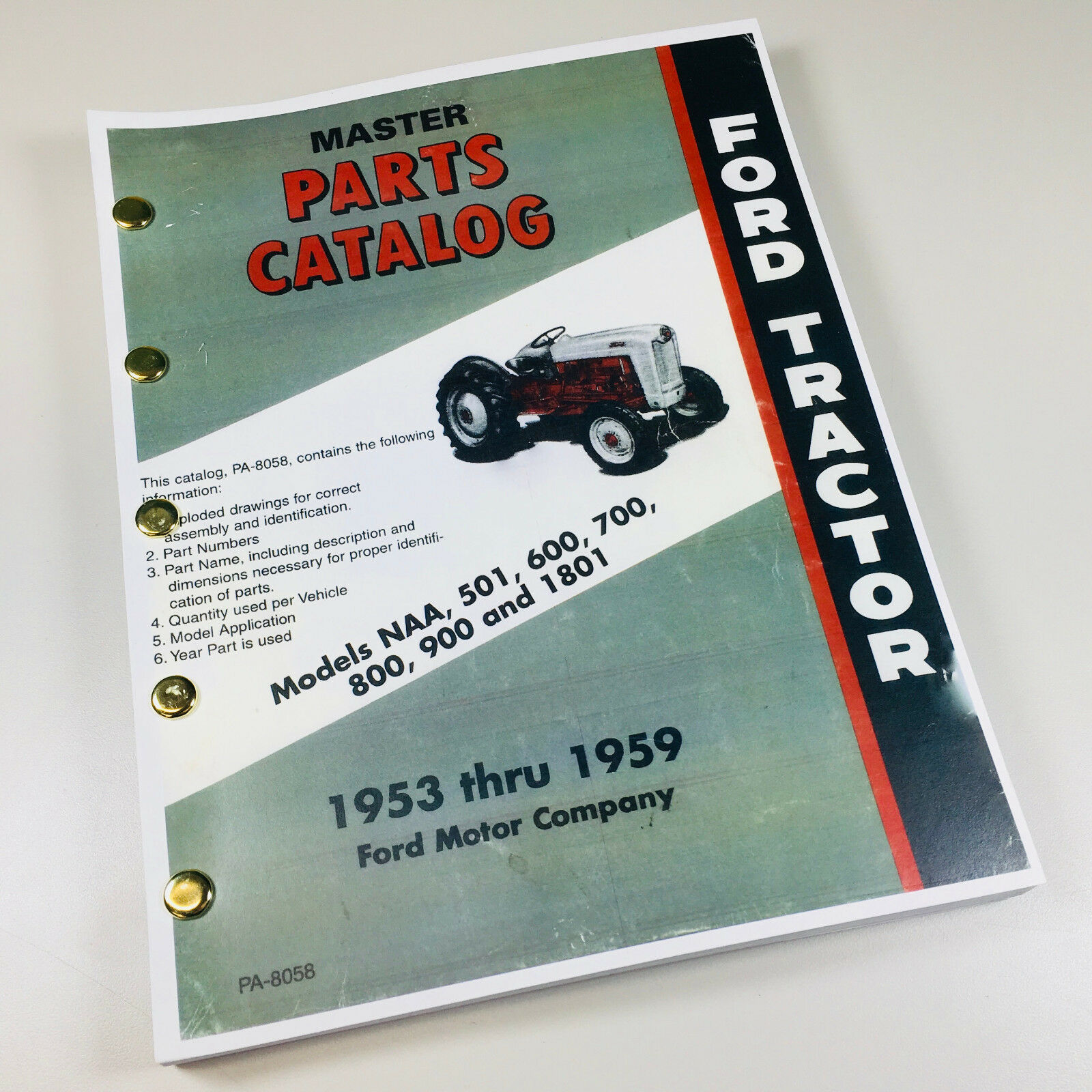 Ford Naa 501 600 700 800 900 1801 Tractor 1953-1959 Master Parts Manual  Catalog 1 of 8FREE Shipping ...