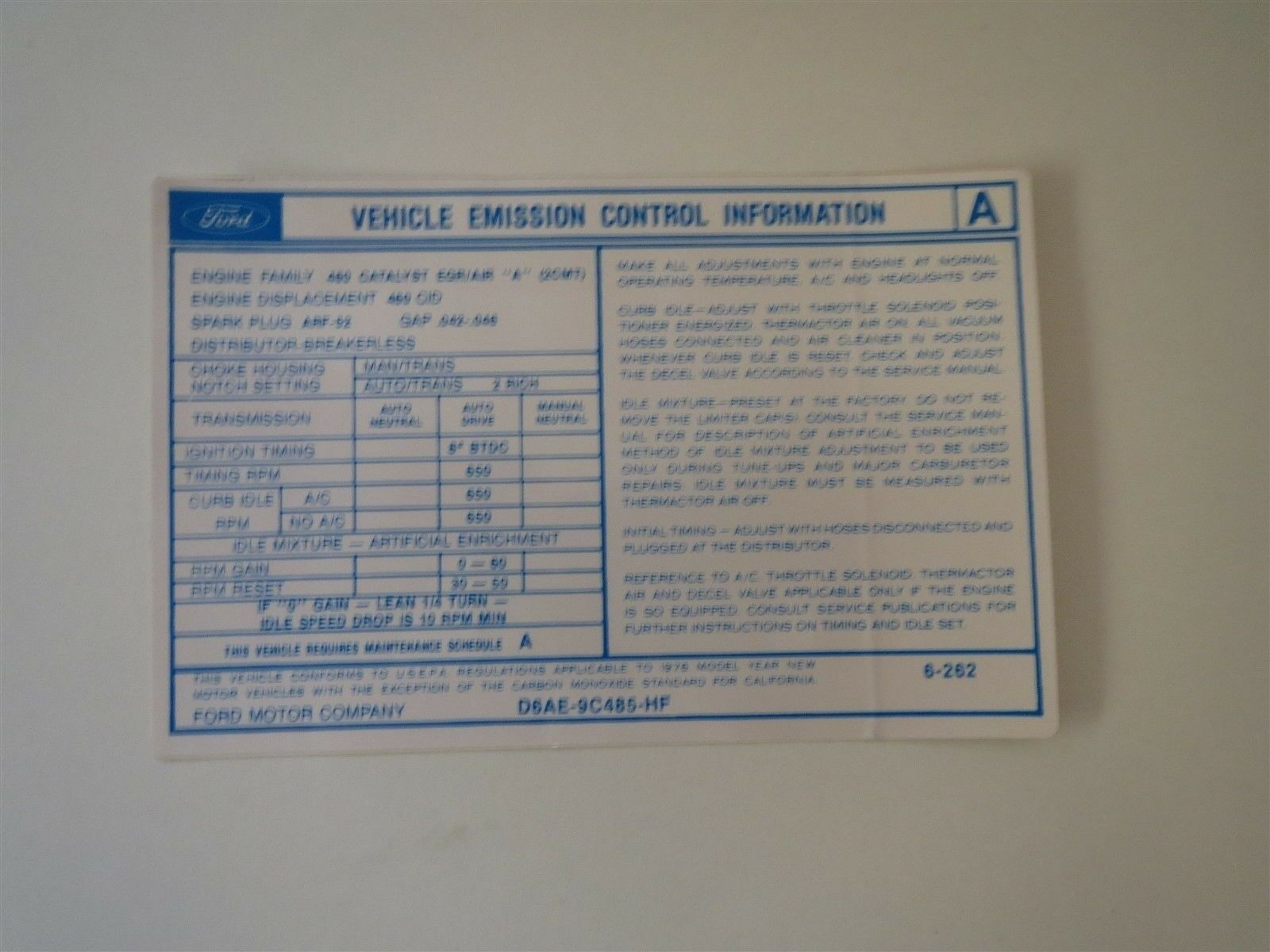1976 Lincoln Continental And Mark Iv 460 Engine Emissions Decal Wiring Diagrams 1 Of See More