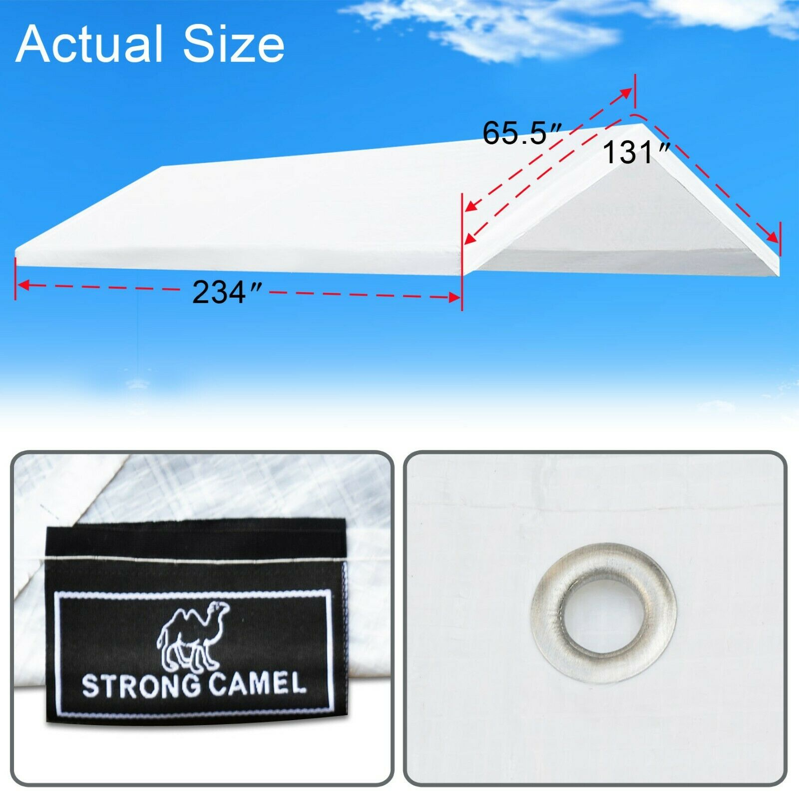 10X20\' CARPORT REPLACMENT Canopy Tent Top Garage Cover w Ball ...