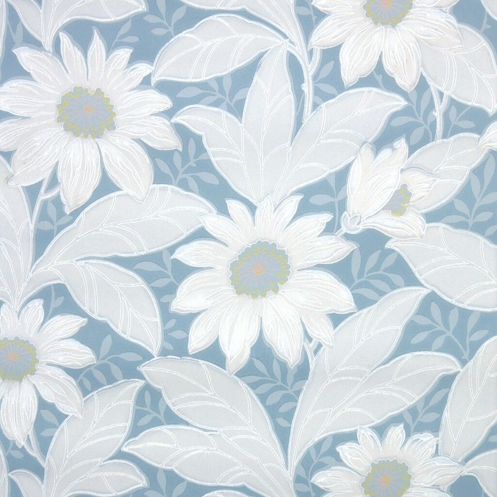 1940s Floral Vintage Wallpaper Large White Tropical Flowers And