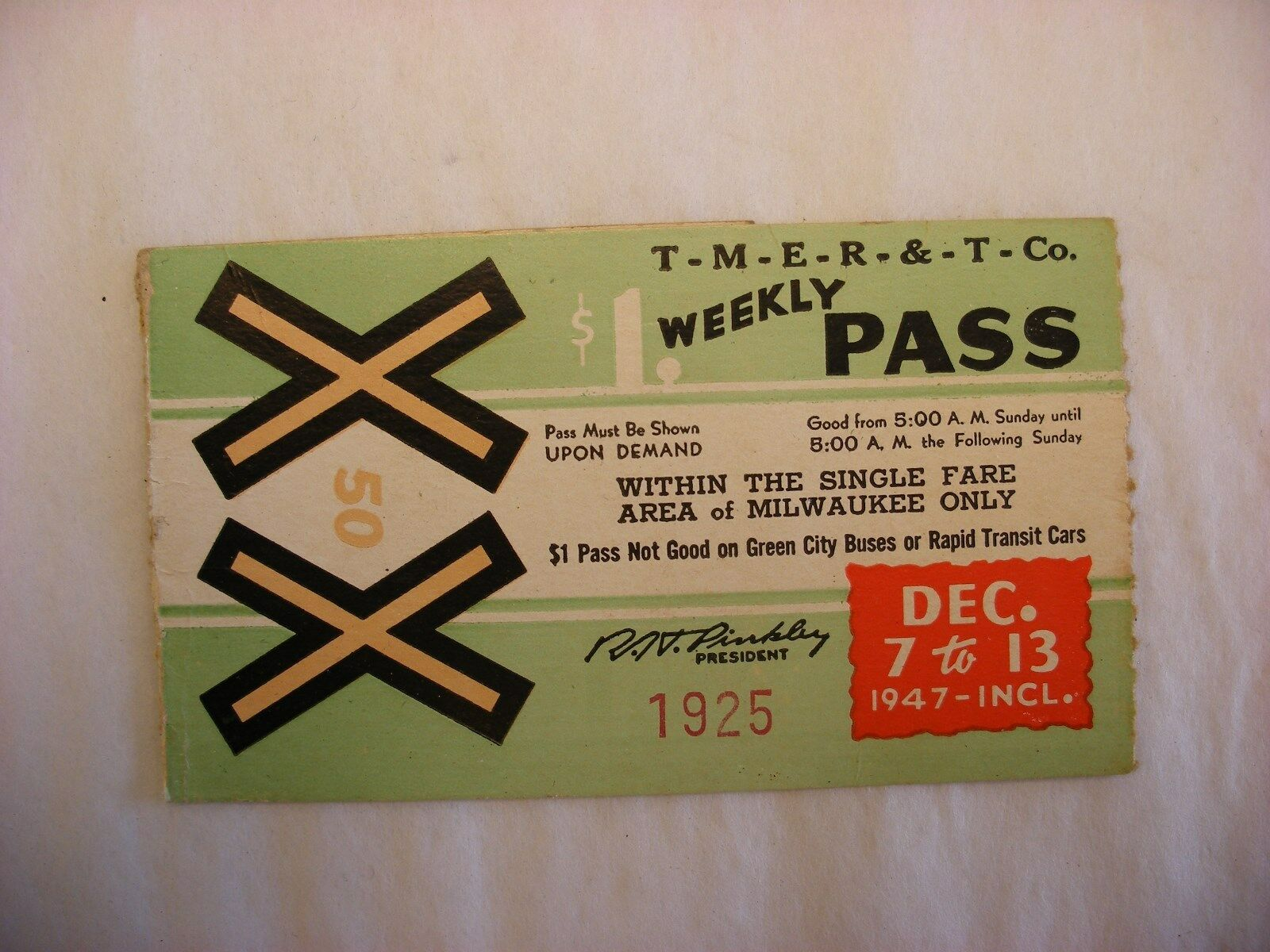 VTG TMER&L MILWAUKEE Electric Railway and Transport Co. Bus Ticket ...
