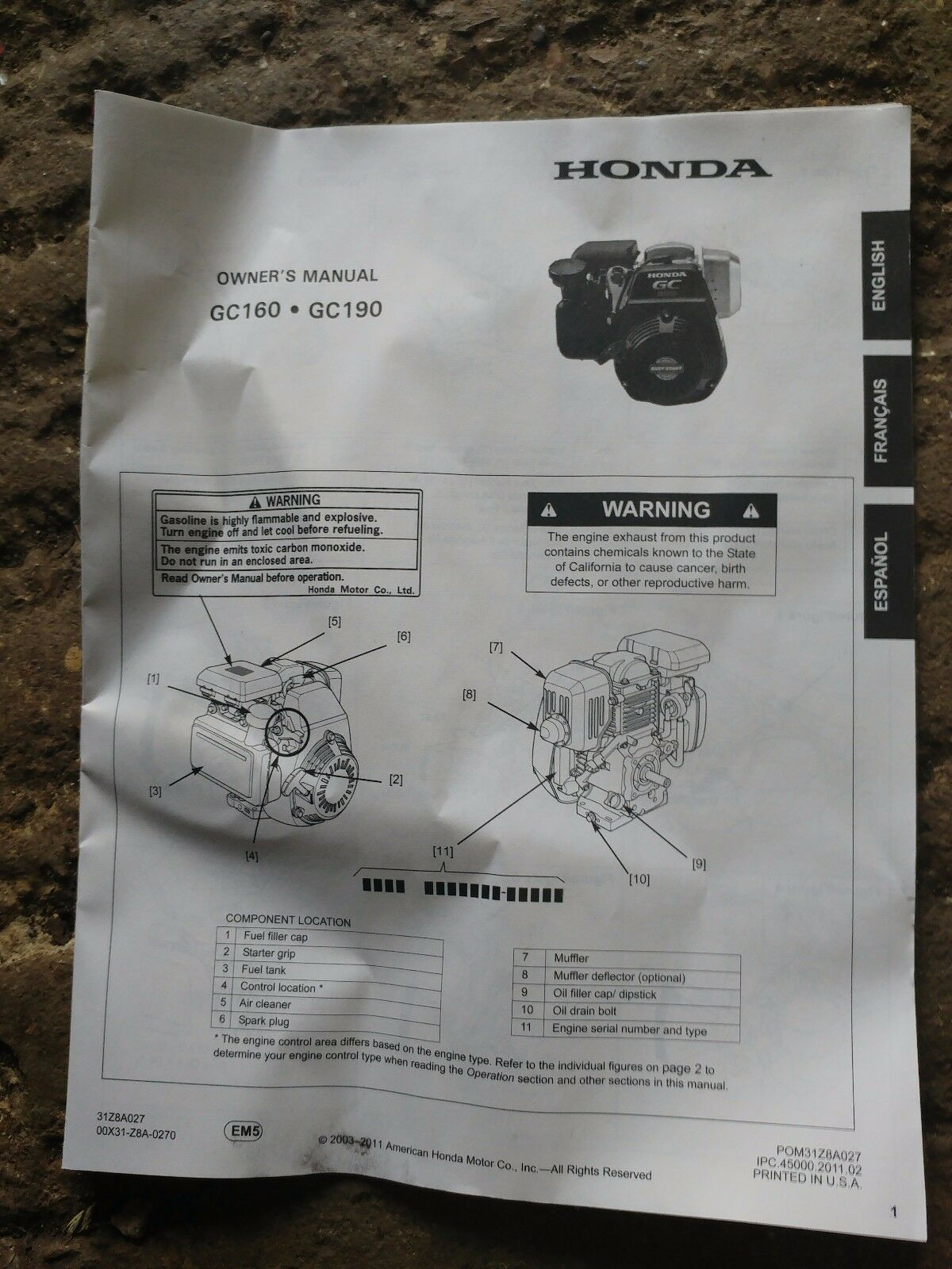Honda Gc190 Engine Parts Manual 750 Picclick Uk Diagram 1 Of 1free Shipping