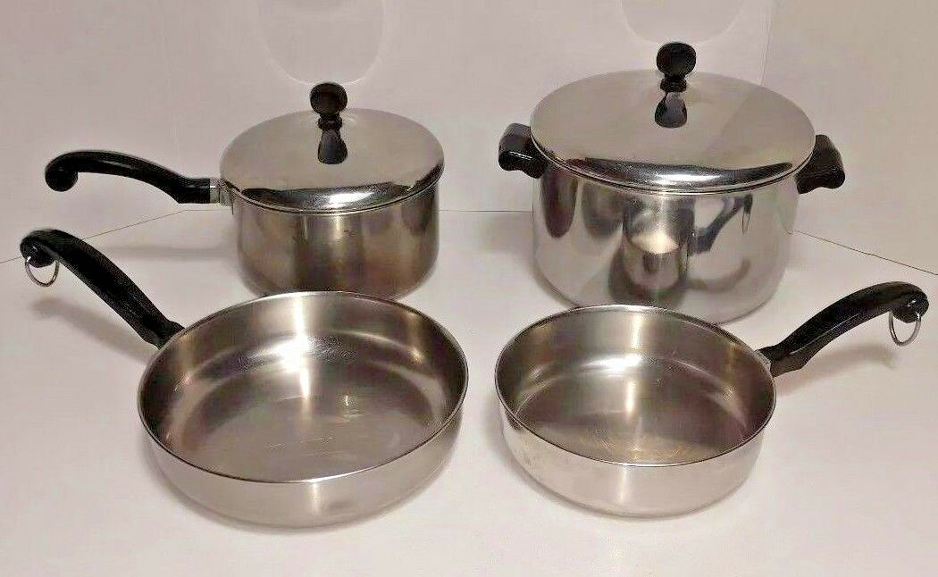 Farberware Aluminum Clad Stainless Steel Pots Pans Lids 6 Pieces Usa Vintage 1 Of 4 See More