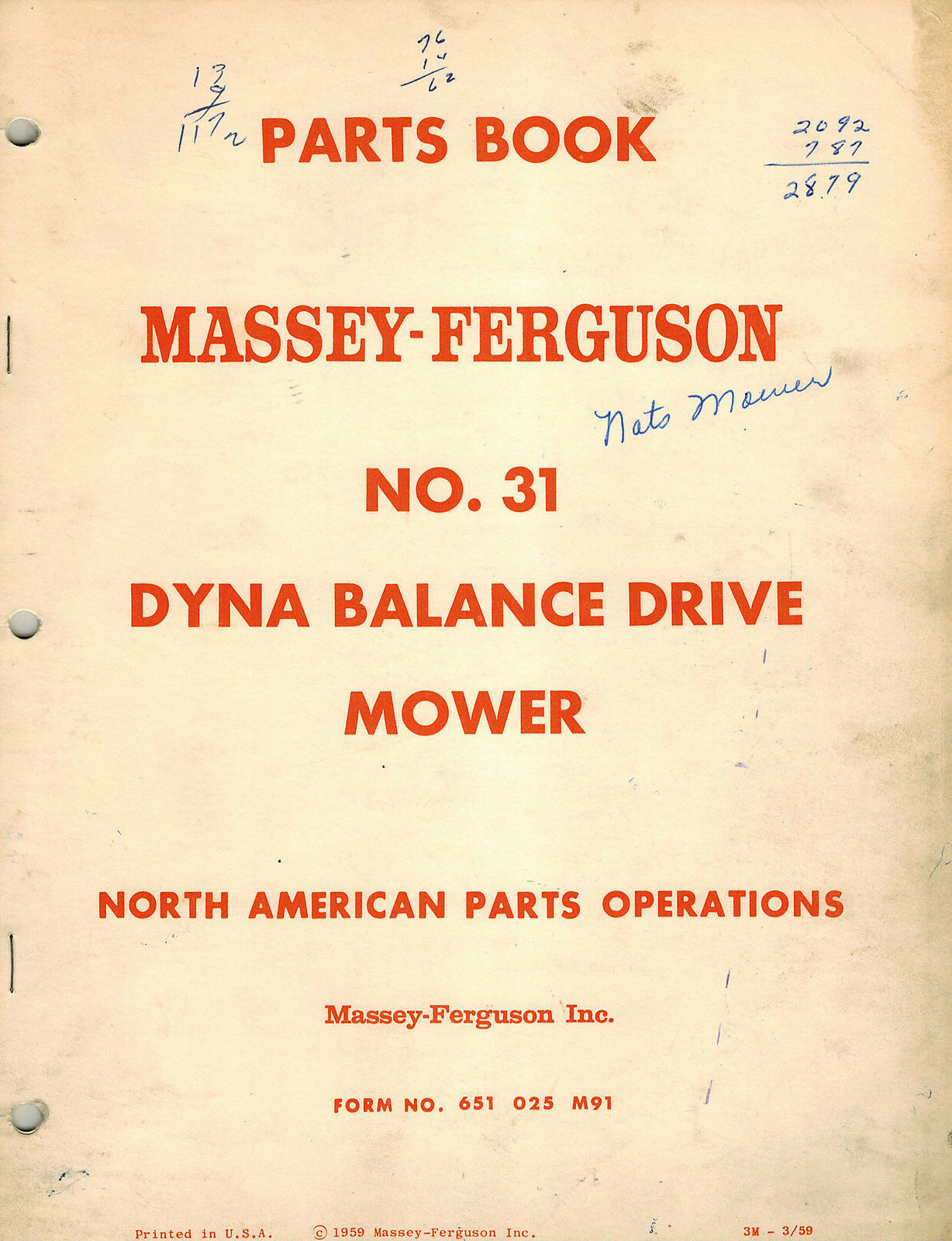 MASSEY FERGUSON 31 DYNA BALANCE DRIVE MOWER PARTS MANUAL mf 651 025 M91 1  of 5Only 1 available ...