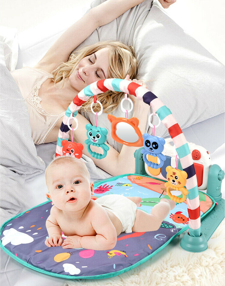Baby Gym Play Mat Lay&Play 3 in1 Fitness Music Lights Fun Piano FORBoy Girl Gift • £10.89