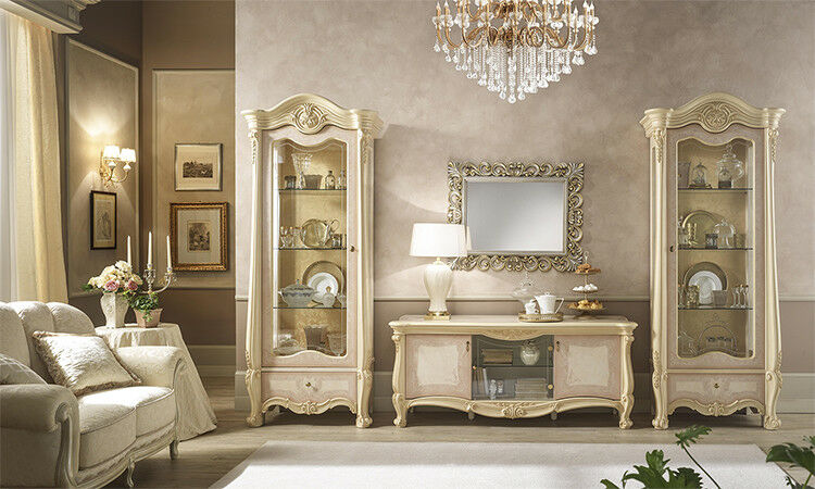 wohnzimmer tv wand zwei vitrinen tv schrank beige lackiert. Black Bedroom Furniture Sets. Home Design Ideas