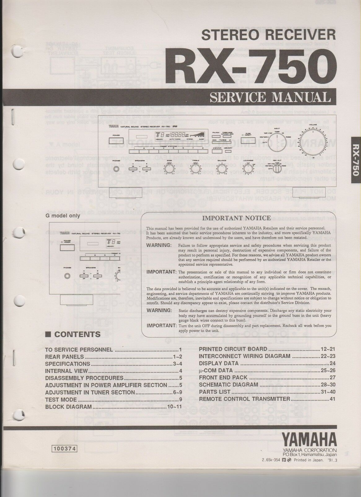 Original Yamaha Rx 750 Stereo Receiver Service Manual 1299 Wiring Diagram 1 Of 1only Available