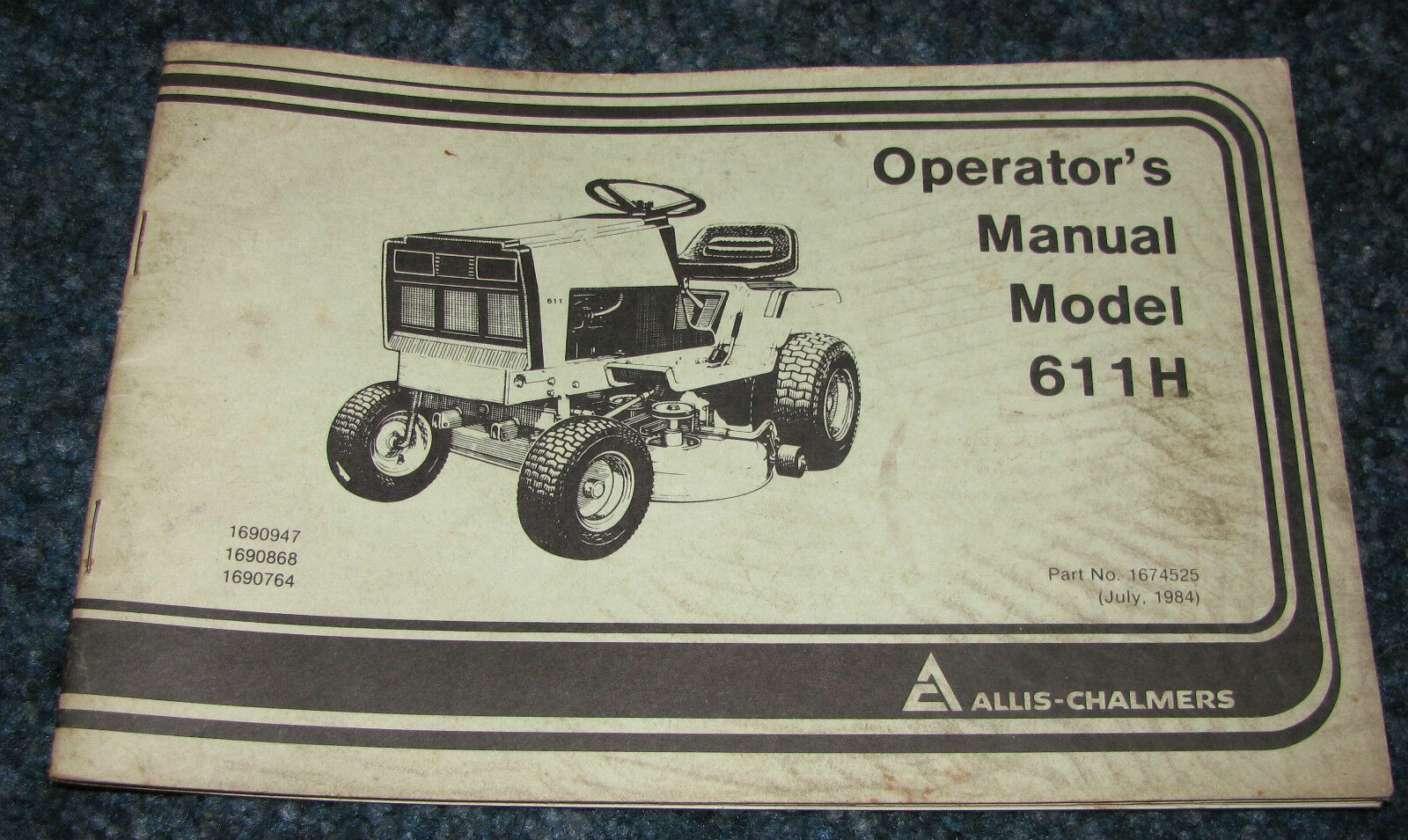 611 Allis Chalmers Wiring Schematic Library Garden Tractor Diagram Pics H Lawn Operators Owners Manual Ac 611h 1 Of 1only