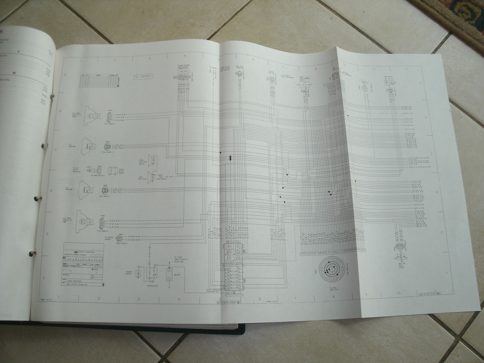 1996 Ford F700 F B800 Ft900 Cab Oem 17 X 27 Foldout Binder Wiring 1987 Diagram 1 Of 2only Available