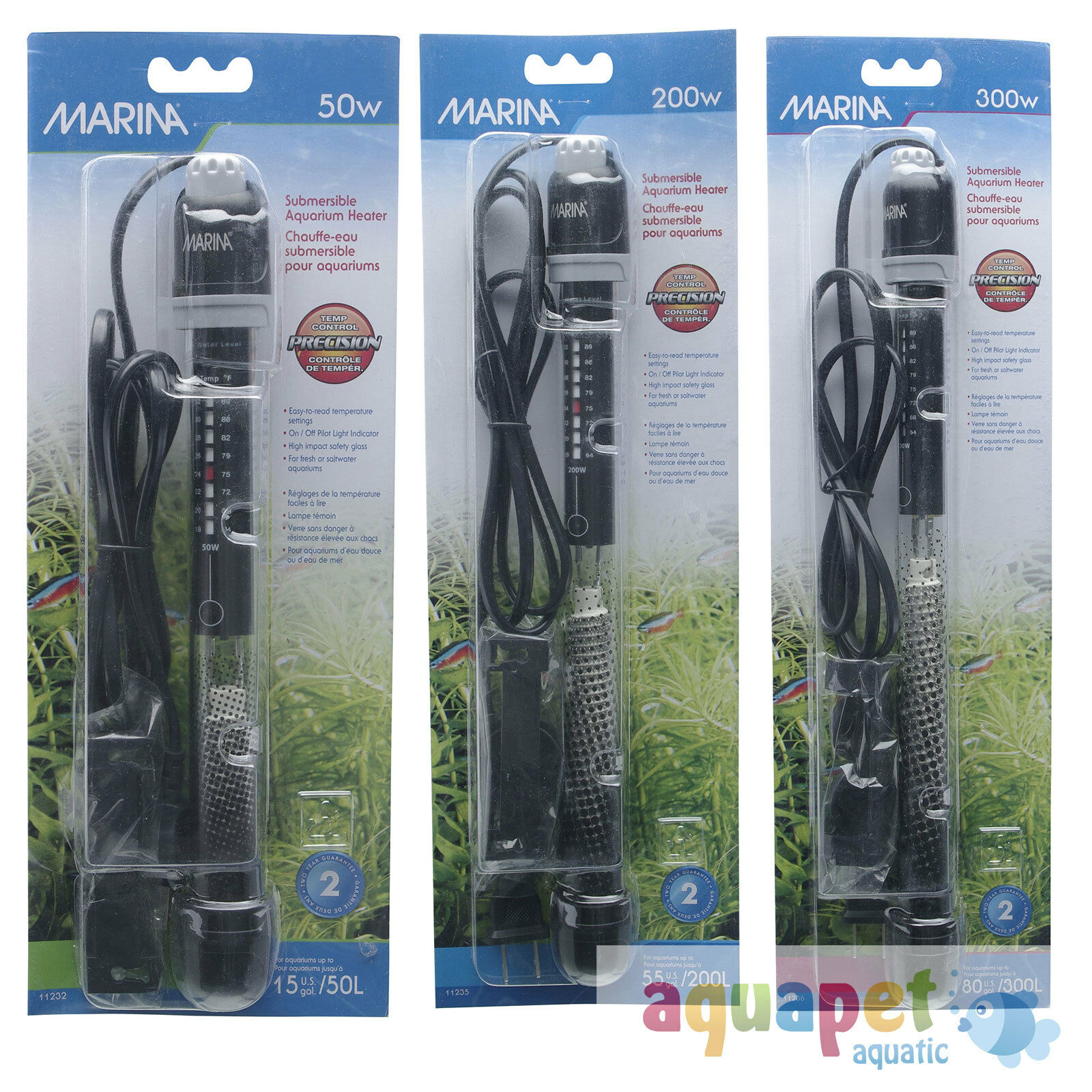 Hagen Marina Submersible Heater Fish Tank Aquarium Tropical Salt Marine UK Plug