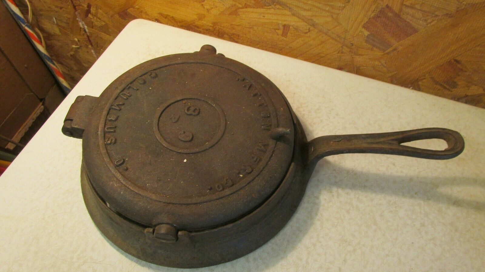 Antique Cast Iron ~ Antique cast iron waffle patton mfg columbus ohio