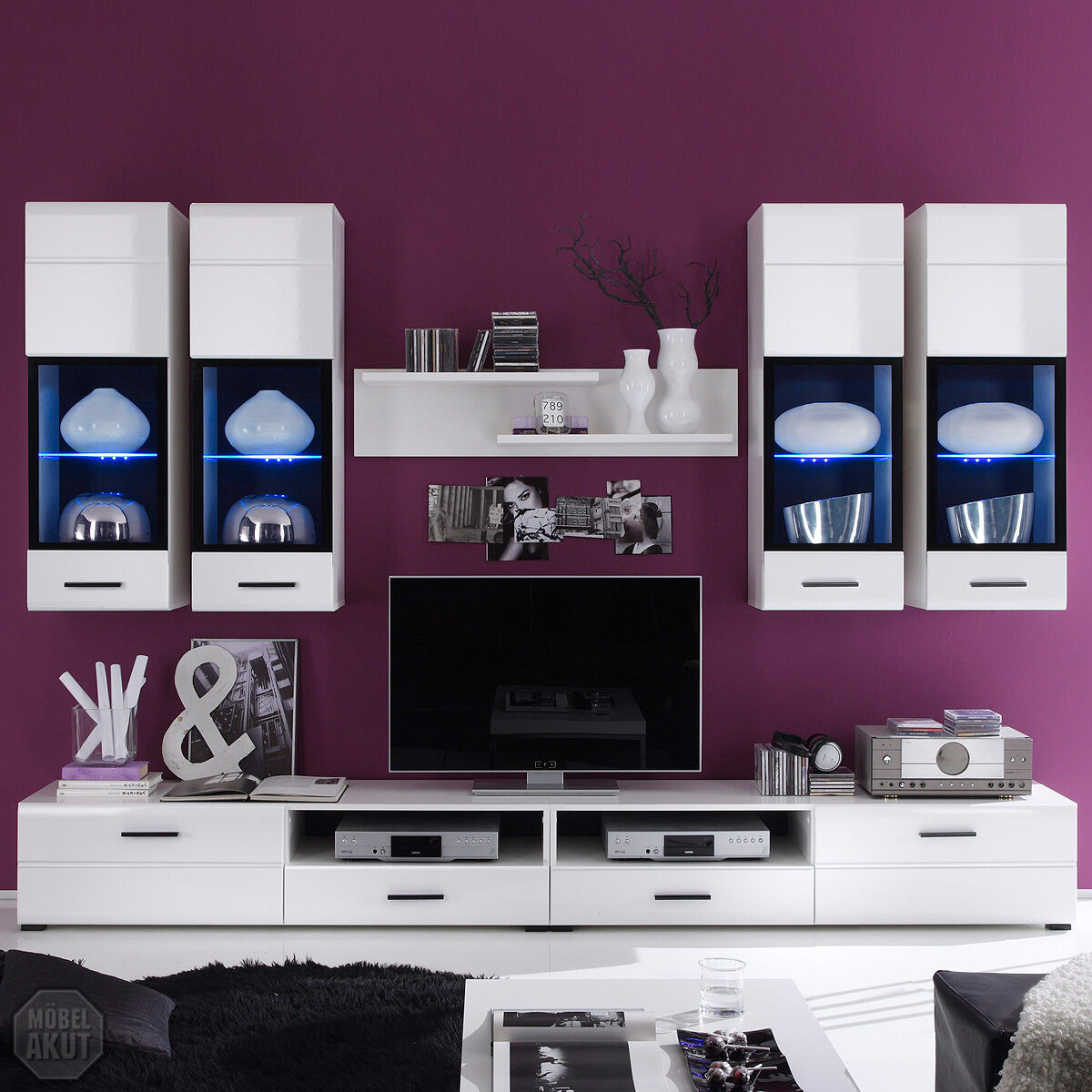 wohnwand attac anbauwand wei hochglanz inkl led neu. Black Bedroom Furniture Sets. Home Design Ideas