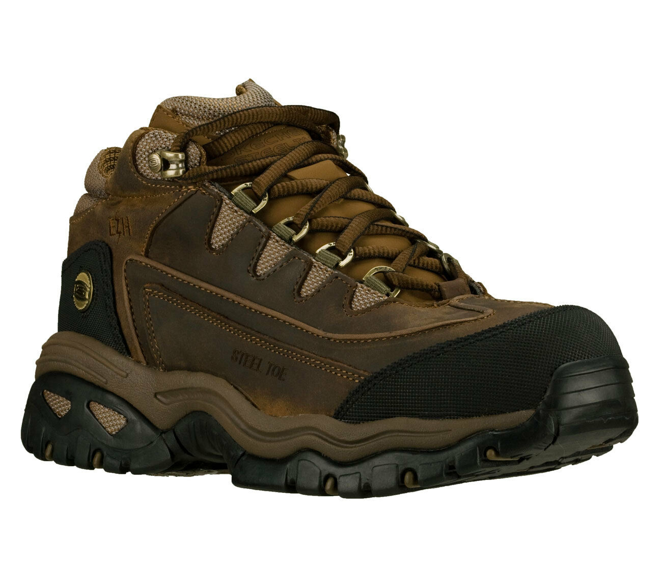 Skechers For Work: ENERGY BLUE RIDGE Men's Steel Toe Ankle Boots BROWN 76068CHA