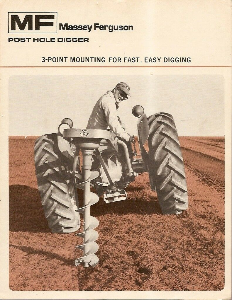Farm Equipment Brochure - Massey Ferguson - MF 1 - Post Hole Digger 1972  (F1245 1 of 1Only 1 available See More