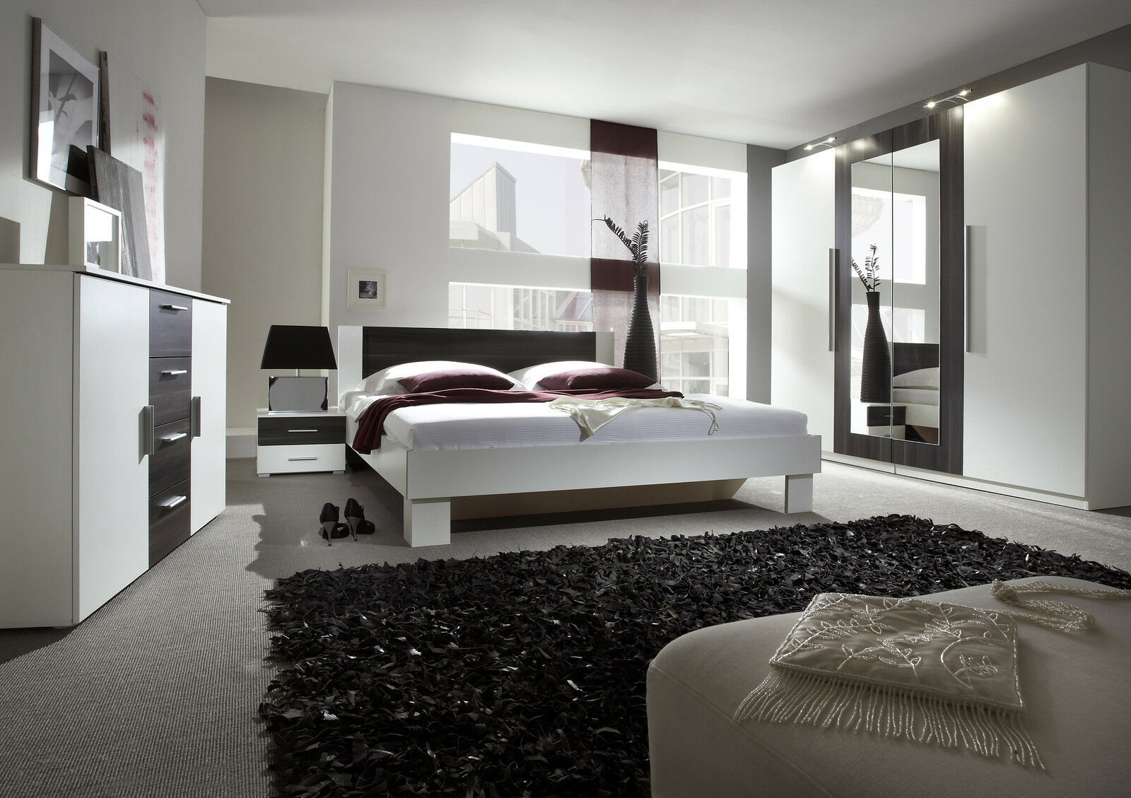 schlafzimmer komplett 3 tlg schrank bett kommode weiss. Black Bedroom Furniture Sets. Home Design Ideas